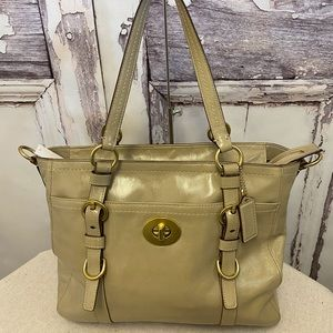 Coach Chelsea Taupe Patent Leather Bag F14022